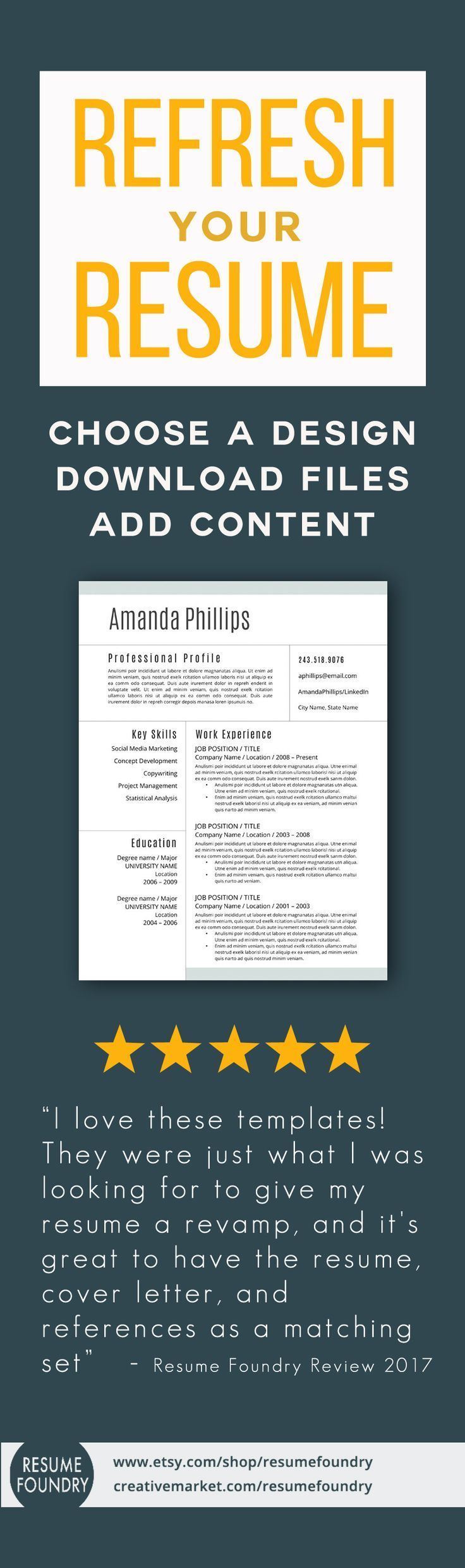Modernize your resume in no time at all by using a professional resume template. Just choose a design, download the files and voila - ready to go.