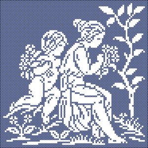 The four seasons: Spring | Chart for cross stitch and filet crochet.