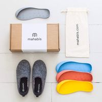 """the mahabis classic bundle contains our designed upper and a free pair of detachable soles. the classic upper is a sculpted slipper aiming for both comfort and minimalist style. lightweight, and finished with our neoprene cushion soft heel, the mahabis classic is easy to slip-on and off. combined with our detachable soles they form the ideal slipper for everyday adventures."""