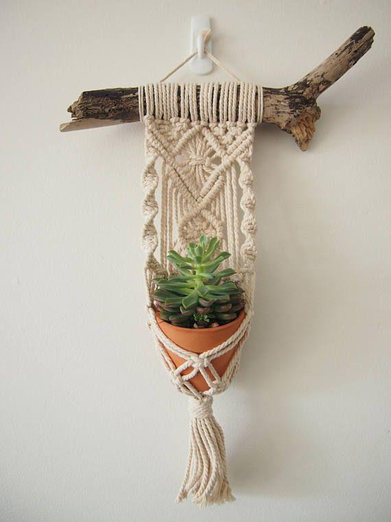 Macrame Plant Hanger Wall Hanging Fits Mini Pot Indoor Vertical Garden Handcrafted Home Decor Interior Design Suspended Plants Woven