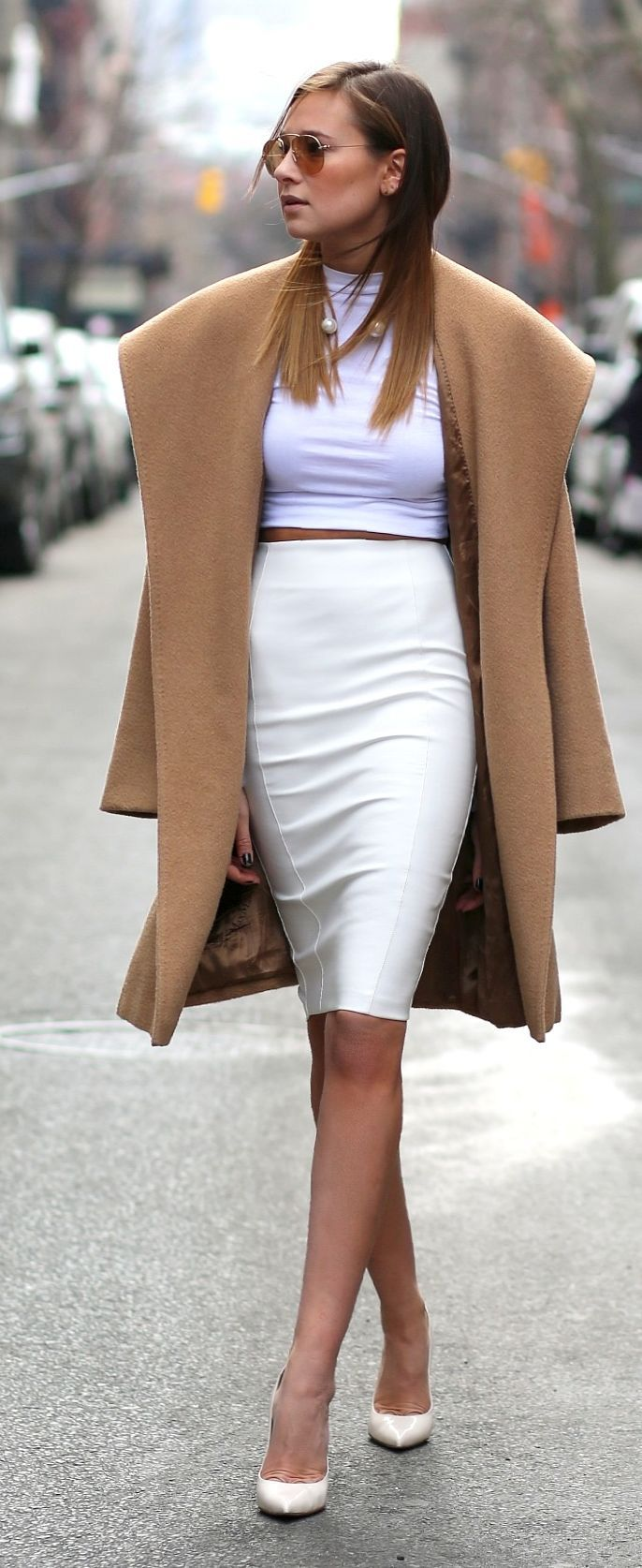 Kardashian Kollection White High Waisted Pencil Skirt by We Wore What