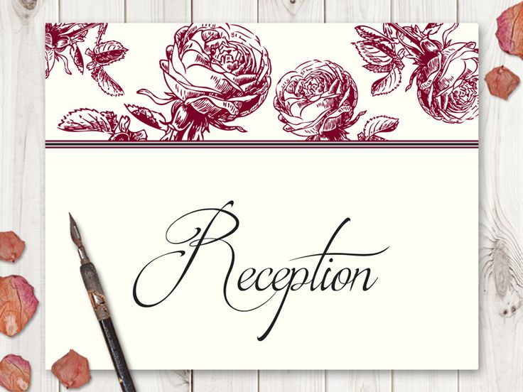"""Wedding Sign Template """"Classic Roses"""" Burgundy Red. DIY Printable Reception Sign, Cards, Programs, Photobooth, Instagram, Guestbook Sign. by ShishkoTemplates on Etsy"""