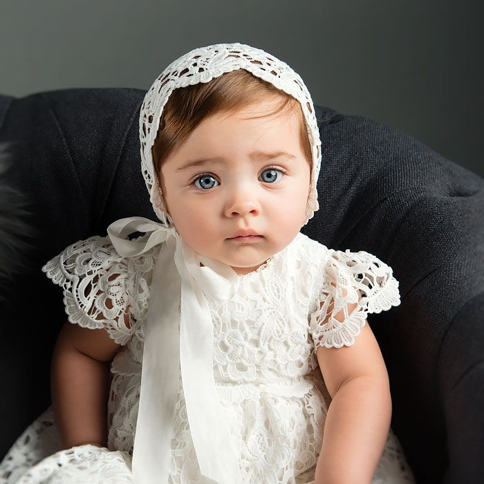Our Lola Christening Gown & Bonnet is a beautiful gown for your baby. At ChristeningGowns.com we specialize in infant clothes for christenings, baptisms, and holidays.