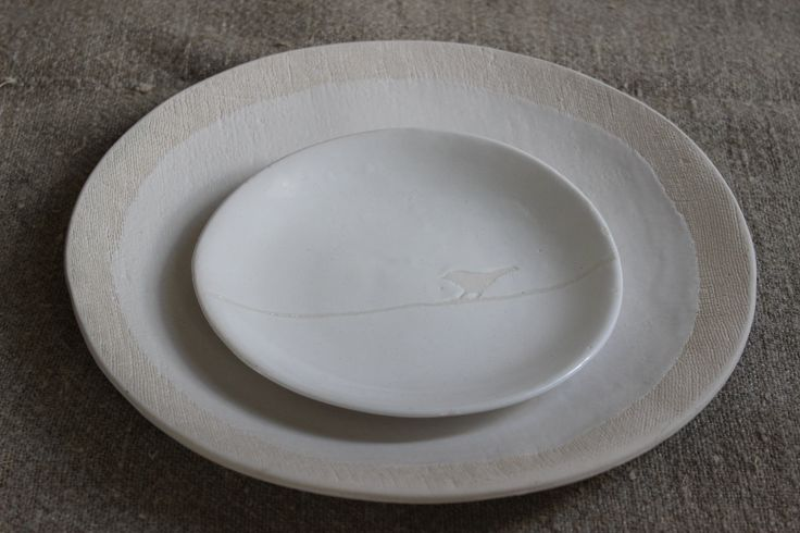 Dinner & side plate - Textured range in white stoneware Clay Art ceramics by sonja moore