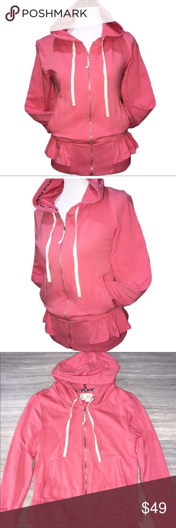 Anthropologie Saturday/Sunday Peplum Zip Up Hoodie Anthropologie Saturday/Sunday salmon pink zip up hoodie. Peplum waist ruffle, hidden large interior pockets on both sides. Great condition! Anthropologie Tops Sweatshirts & Hoodies
