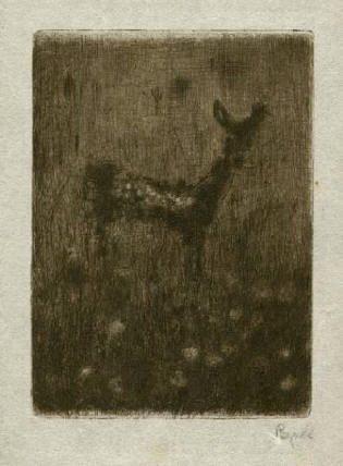 Bohuslav Reynek Koloušek / Fawn suchá jehla / dry point 11 x 8 cm, 1959, opus G 453