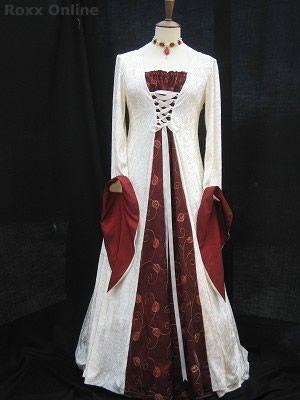 Red Taffeta  ivory velvet medieval wedding dress