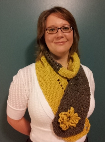 Yellow and Brown Cowl/Scarf with Flower Broach by PurdyCrafts, $30.00