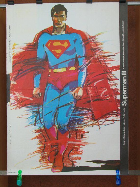 Superman III. English 1983 film by Richard Lester. Polish oryginal 1985 poster by Gregor Marszalek. Action. Comedy. Sci-Fi