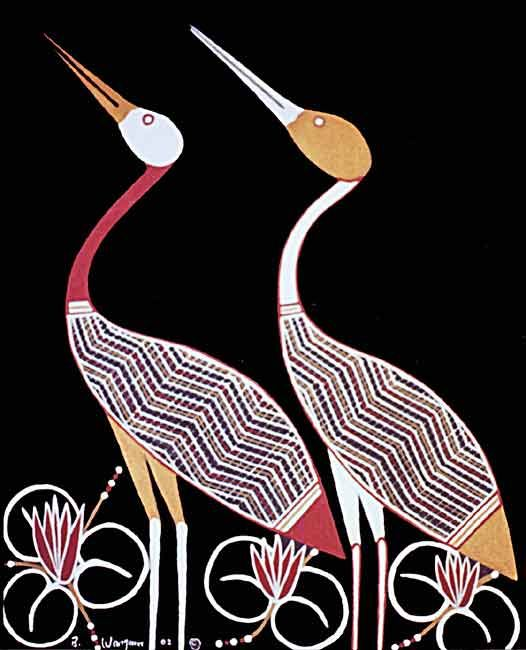 BrolgaThis Aboriginal artwork was painted by Bruce Wangura [a traditional Aboriginal artist and my nephew by Aboriginal tribal law, be it that Bruce is much older than I]. Bruce painted this lovely art for me as a gift. It represents Angelica and Gabriel's totem or their Dreaming; the Brolga bird standing among Nardu, an edible water-loving fern with lilly-like flowers. These are both natives found in Northern Australia