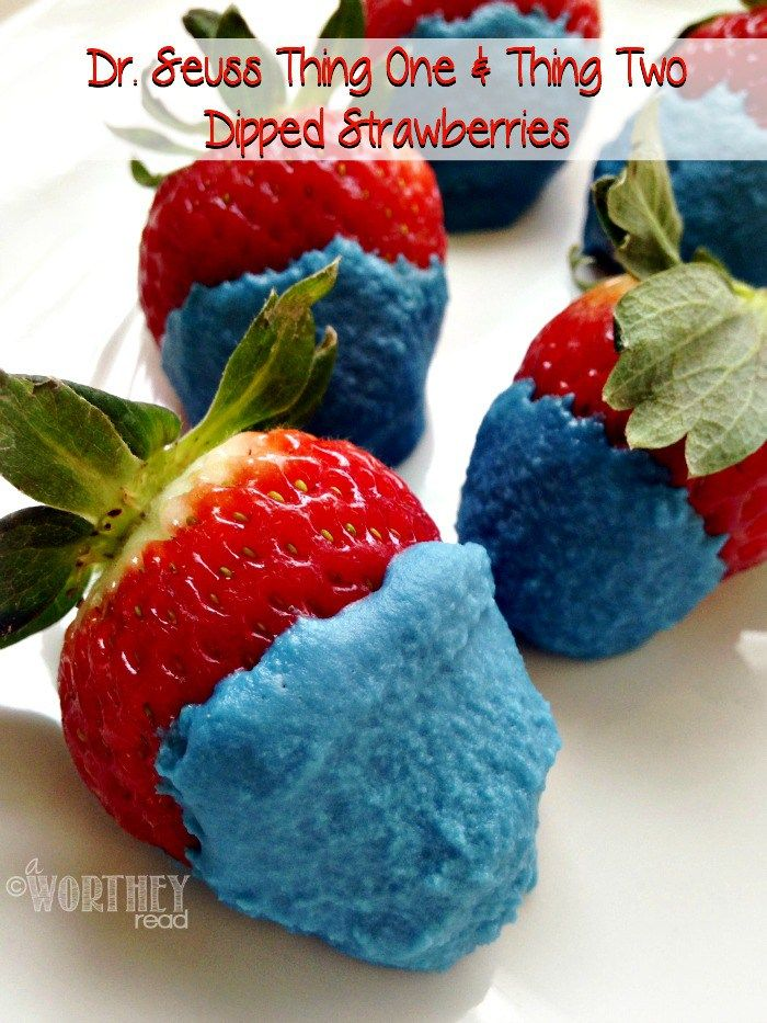 Dr. Seuss Thing One & Thing Two Dipped Strawberries: here's a great idea for your Dr. Seuss Themed Birthday Party! Delicious AND easy to make...