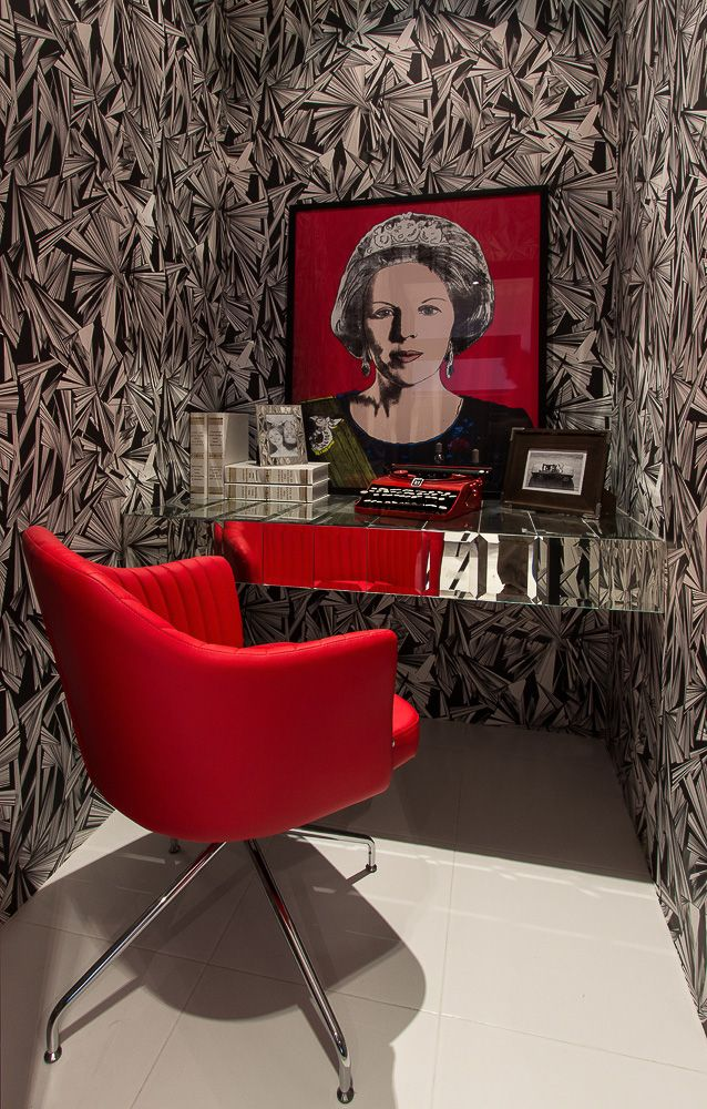 Amazing corner in pop style, cool red armchair, fantastic