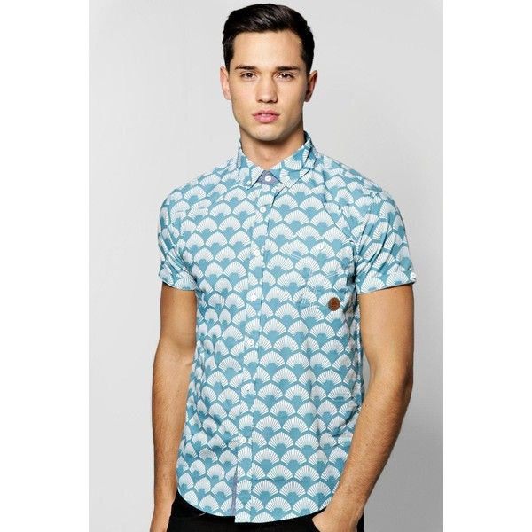 BoohooMAN Blue All Over Geo Print Short Sleeve Shirt ($20) ❤ liked on  Polyvore