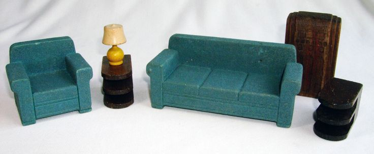 "3/4"" Strombecker 6 pc Living Dollhouse Furn 1930s Flocked Couch Radio Lamp + 