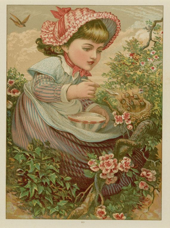Antique Print Little Girl Feeding Baby Birds In Nest C