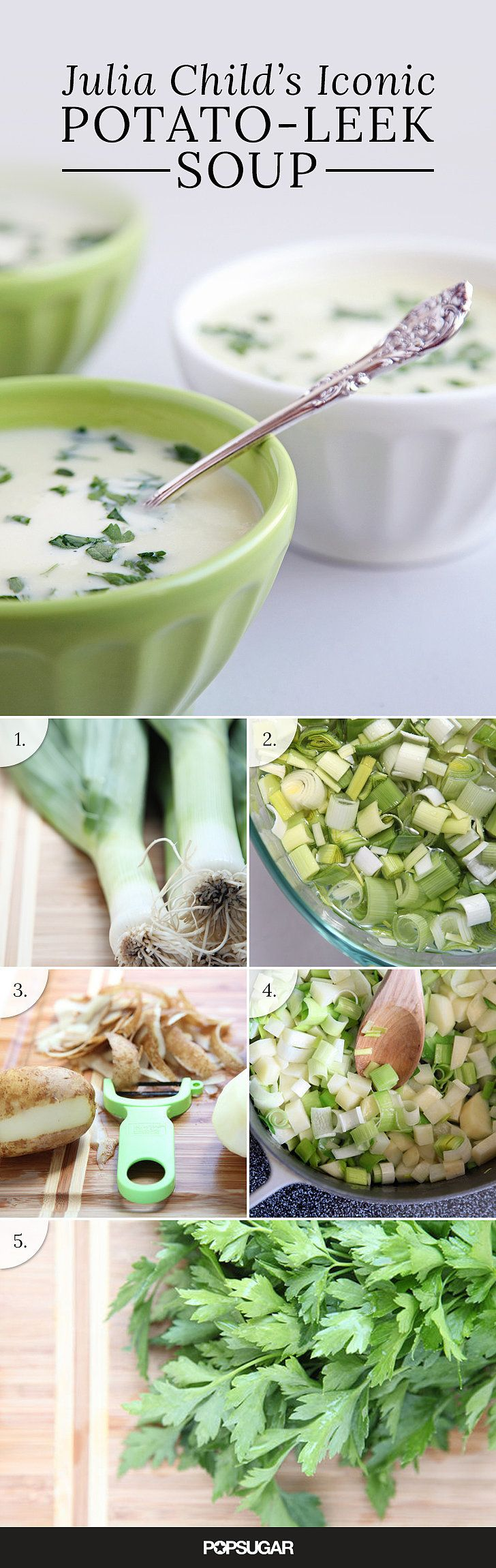 It can be fun to pay homage to the culinary greats, and who better than Julia Child? This potato leek soup would make for an excellent first course for a Julia-themed dinner — or any French meal, for that matter. Follow the recipe and see what all the hype was about.