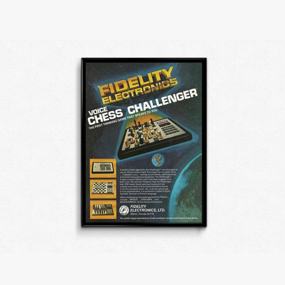 Retro Tech Game Ad  Fidelity Electronics Voice Chess  1980s Chess Board Game  80s Wood Grain Look  Virtual Chess Advert  Space Theme by RetroPapers