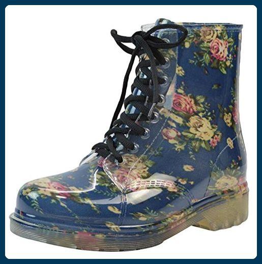 LvRao Damen Wasserdichte Schnürschuhe Kurz Boots Schnee Regen Booties Casual Garten Stiefel Gummistiefel Blau Europäische Größe 38 - Stiefel für frauen (*Partner-Link)