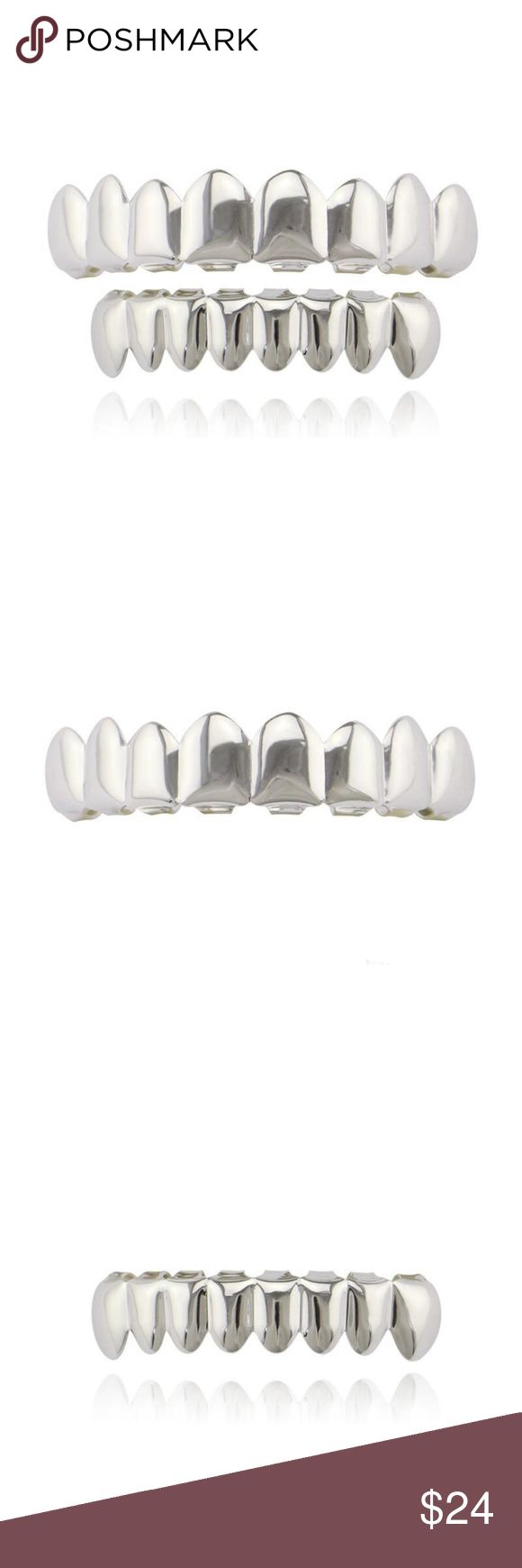 14k White Gold Plated Grillz Set (Top & Bottom) BRAND NEW!! NEVER BEEN WORN OR USED Top & Bottom Grillz SET Grillz are designed for Bottom & Top teeth and is one size fits all. Includes one silicon fixing bar to keep your grill in tight. COMES WITH EASY TO FOLLOW INSTRUCTIONS AND READY TO WEAR IN MINUTES. Each grill can fit any teeth no matter how straight or crooked your teeth are. you can wear the grillz or remove it easily primobling Accessories Jewelry