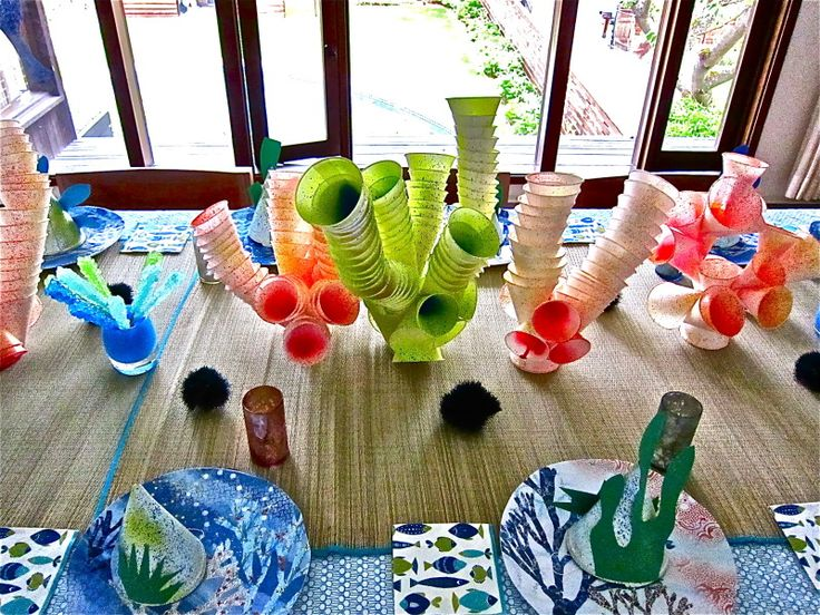 Amazingly simple coral table props, plus a smorgasbord of other simple, crafty ideas for an under the sea theme.