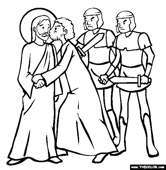 Free Bible Stories Coloring Pages Color In This Picture Of The Betrayal Christ Kiss Judas And Others With Our Library Online
