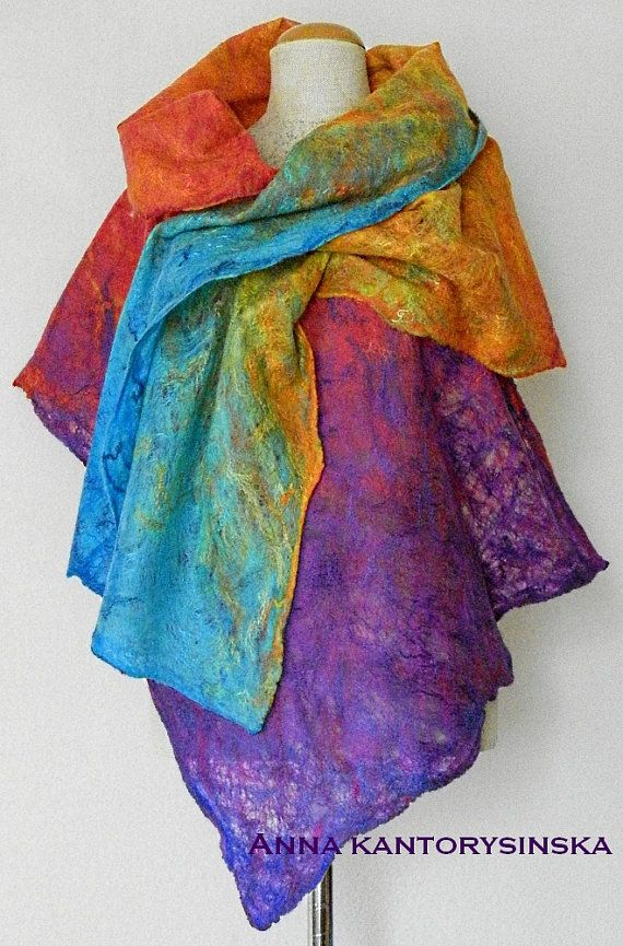 felted scarf PURPLE RAINBOW shawl wrap purple scarf art to wear artistic wool scarf mulicolor felt wet by Kantorysinska