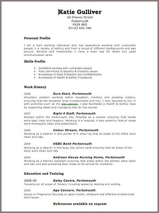 Cv Template Examples Uk Resume Templates And Examples Resume