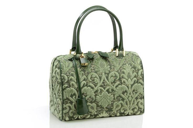 """SANDOLO handbag made of green """"Rinascimento"""" velvet. Leather handles and shoulder strap. It can be wide open and it has wide zippered pockets inside. Big size available, too, made of """"Griglia"""" velvet. Design and concept @ Chiara Pizzinato Atelier"""