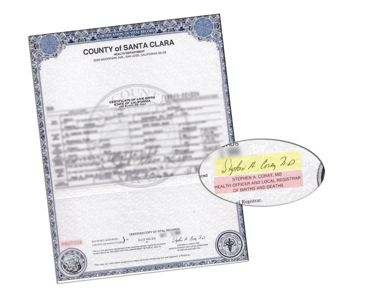 County of Santa Clara Certificate of Birth signed by Stephen A Coray ...