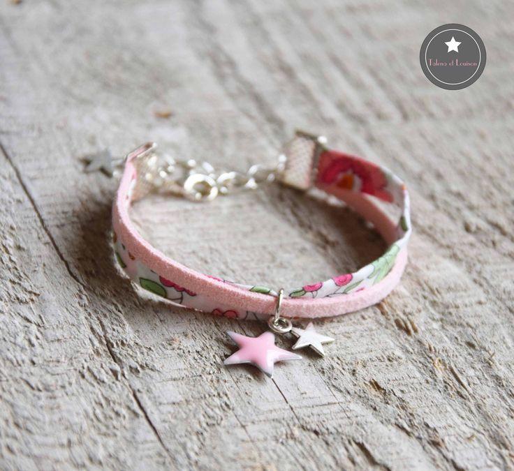 Bracelet enfant étoile Liberty Danjo rose et suédine : Autres par talena-et-louison