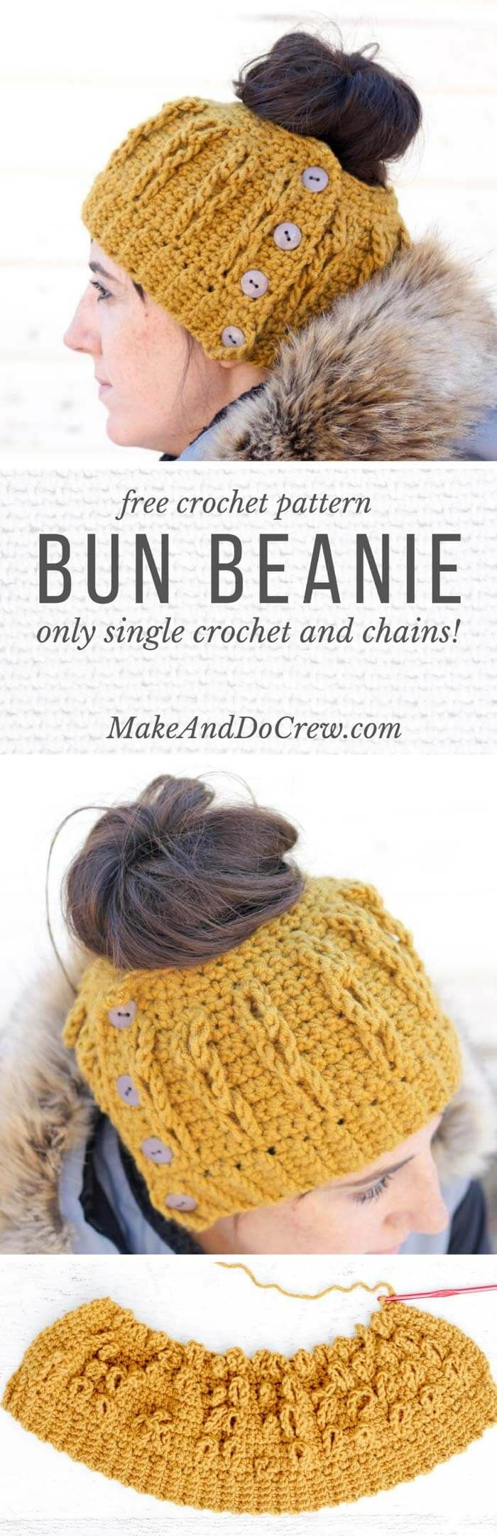 The cabled look of this free crochet bun beanie pattern is worked in only single crochet and chain stitches! Free pattern + video tutorial.