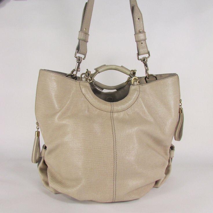 Escada Beige Leather Large Tote Shoulder Bag Purse Hobo Handbag Gold Hardwear