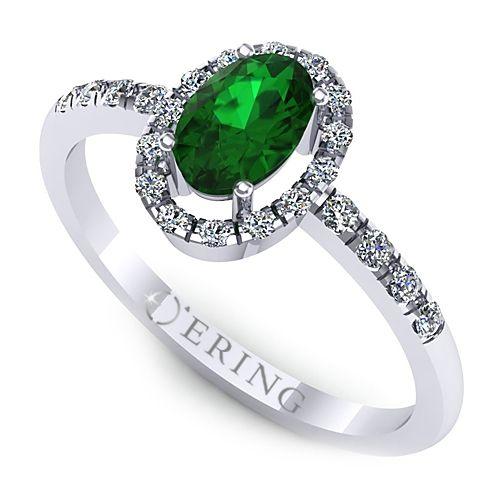 Inel logodna L07ASM inel cu diamante si smarald