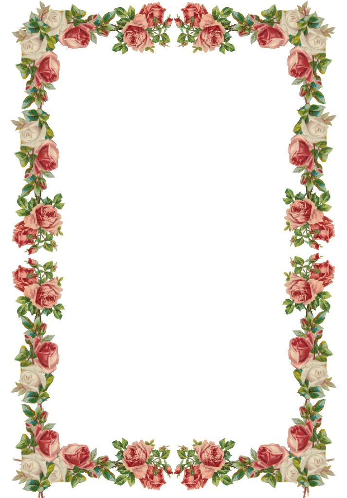 Free digital vintage rose frame and border png with transparent background