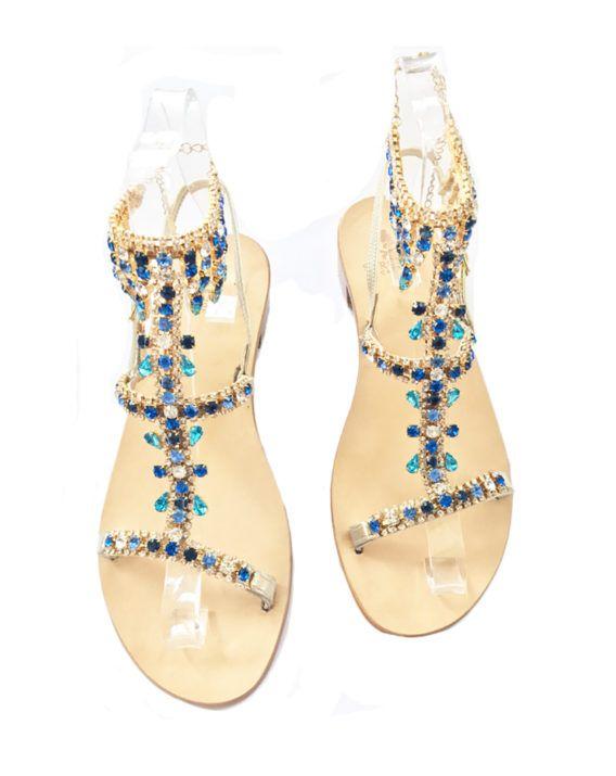 Sandalo Gioiello, modello a cavigliera, impreziosito da Cristalli Blu –  Acquamarina. Jeweled Sandals