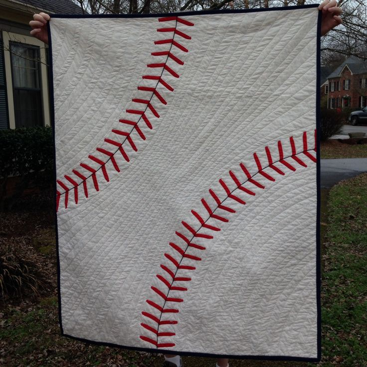 Sometimes its tricky to make quilts for the boys in our lives. This is a great idea! Could be done with a football, basketball or tennis ball too! ~Anna from Janome