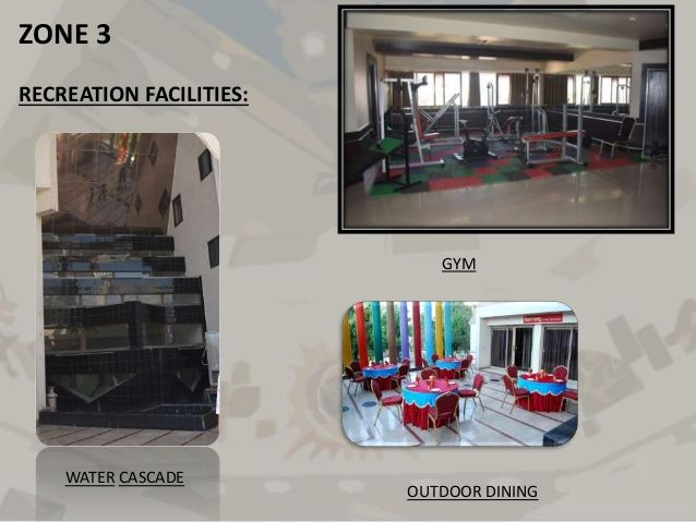 ZONE 3  RECREATION FACILITIES:  WATER CASCADE  GYM  OUTDOOR DINING