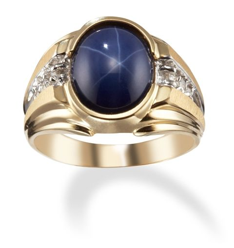14k 2 Tone Gold Mens Star Sapphire Ring with Diamonds
