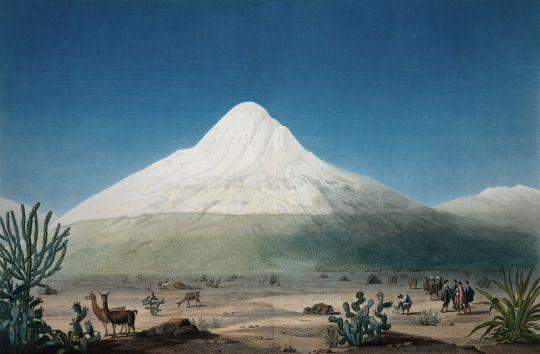 Alexander von Humboldt, Mount Chimborazo, Vues des Cordillères, c. 1816.