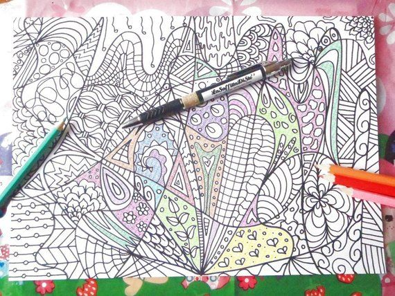 Doodle Intricate Adults Coloring Book Expert Level Page Anti Etsy In 2021 Coloring Books Printable Print Coloring Pages