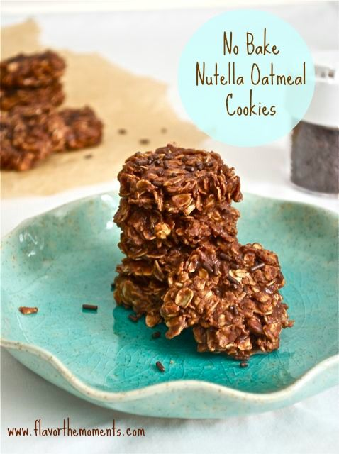 No Bake Nutella Oatmeal Cookies are full of rich, delicious chocolate hazelnut flavor with a hint of espresso, and the chewiness of oats.