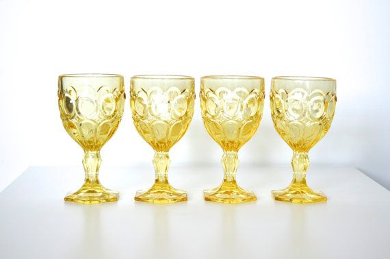 Love these!  Fostoria glass goblet Moonstone pattern  set of 4 by SCAVENGENIUS, $35.00