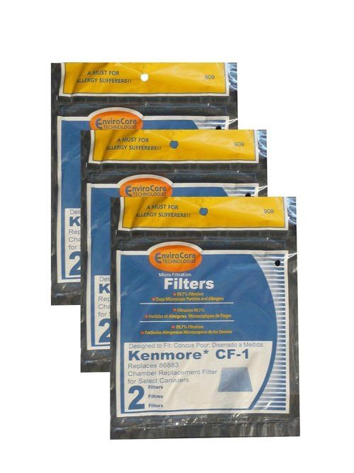 (6) Kenmore Sears Progressive Foam Filter CF1, Progressive & Whispertone, Panasonic Vacuum Cleaners, 86883, 86880, 20-86883, 2086883, 8175084