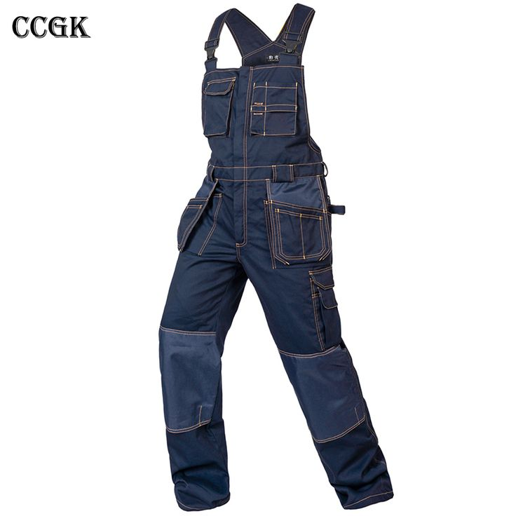 CCGK bib overalls men work coveralls multi-functional pockets repairman strap jumpsuits pants wear-resistance working uniforms