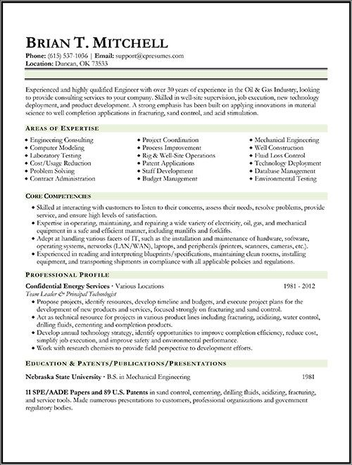 example resume oil and gas
