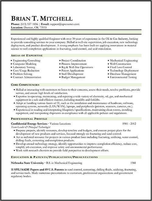 Oil & Gas Engineer Resume Sample Work Sample Resume
