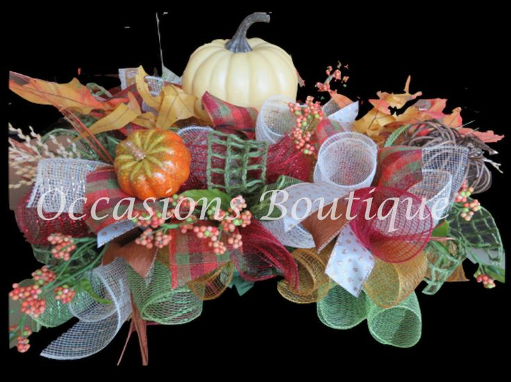 Fall Centerpiece, Thanksgiving Decoration, Mantel Decoration, Deco Mesh Centerpiece, Ready to ship by OccasionsBoutique on Etsy
