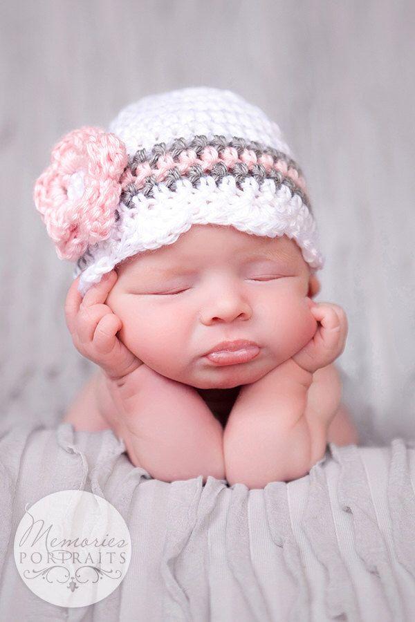 Baby Girl Hat, Ready to Ship, Crochet Newborn Hat, Baby Girl Beanie, Newborn Baby Hat, Newborn Photo Prop, Baby Newborn Hat, White Pink Grey by CarolinaHats on Etsy https://www.etsy.com/listing/215836377/baby-girl-hat-ready-to-ship-crochet