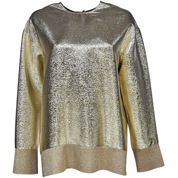 Metallic Blouse (18 985 UAH) ❤ liked on Polyvore featuring tops, blouses, gold, gold metallic blouse, long sleeve blouse, long sleeve keyhole top, gold long sleeve top and gold top