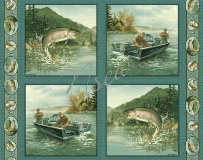 Fish Trout COTTON Fabric Panels for Quilt & pillows by Artist Hautman. $9.99, via Etsy.